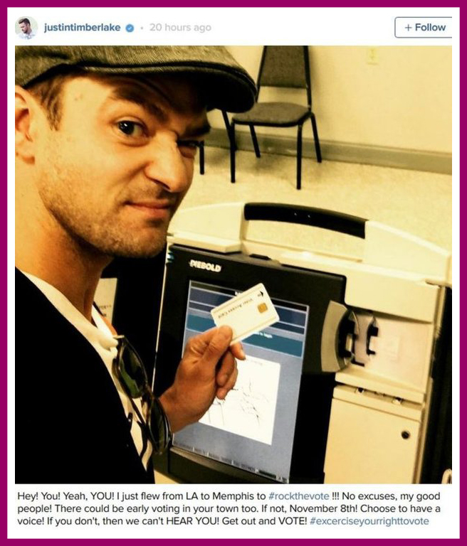 Justin Timberlake what have you done.. ( voting booth photo)